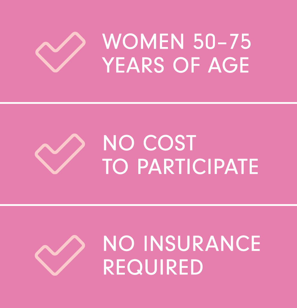 Women 50-75 Years of Age; No Cost to Participate; No Insurance Required